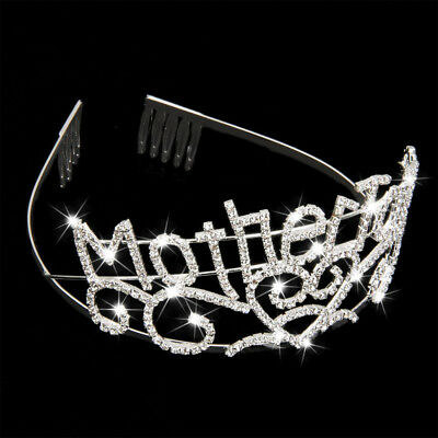 Mother To Be Silver Tiara Crown with Sparkling Rhinestones for Baby Shower