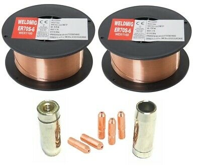 2 x Mild Steel MIG Welding Wire - 0.6mm 0.7kg Reel - (inc. M5 Tips And Shrouds)