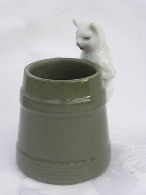 Vintage Ceramic Green Cup or Mug with a White Cat Handle