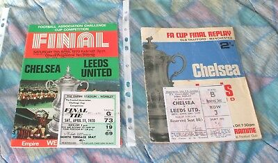 Chelsea v Leeds United 1970 fa cup final & replay programmes/tickets