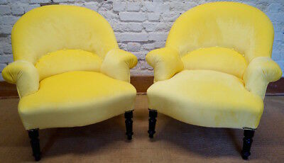 Pair of French Antique Louis Philippe Tub Chairs in a Lemon Velvet Fabric