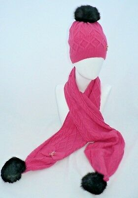 Ladies Pink Winter Hat And  Scarf Set Pom Pom Code: Whspnk04