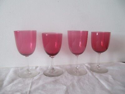 4 Mixed Size Victorian Edwardian Cranberry Sherry Glasses