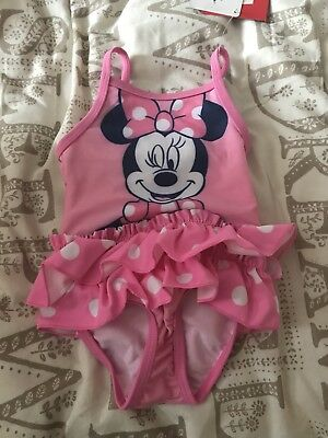 Pink Minnie Mouse Swimming Costume With Tags Size 3-6 Months