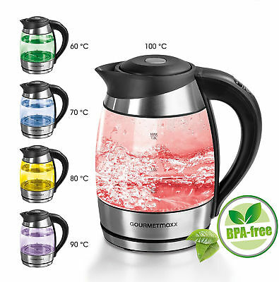 Electric Illuminating Glass Kettle Colour Changing LED BPA Free GourmetMaxx 1.8L