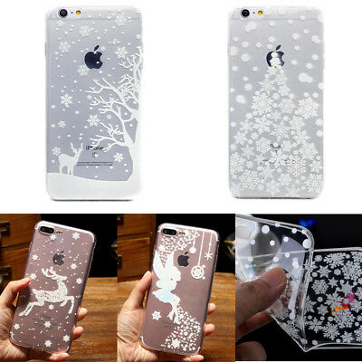 White Christmas Snowflakes Reindeer Soft TPU XMAS Gifts Case Cover for iPhone 6S