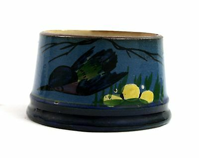 Early 20th C. Longpark Pillar Candle Holder Blue Bird Floral Hand Painted