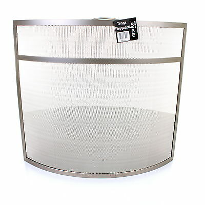 Fire Screen Guard Fireside Protector Nickel Cover Fireplace Shield Protective
