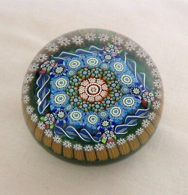 Vintage Scottish Perthshire Millefiori Glass Paperweight  P 1985 Cane To Base