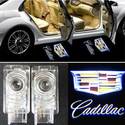 1Pair CAR Door LED Laser Projector Ghost Shadow Logo Welcome Light for Cadillac