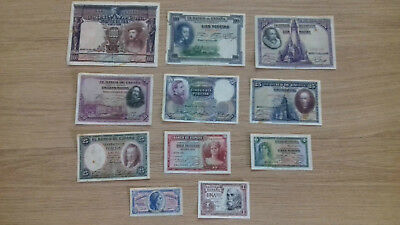Collection of 11 old spanish banknotes from 1925 to 1953
