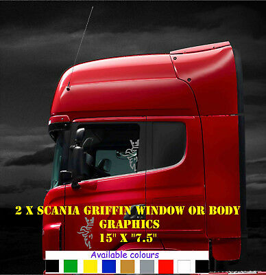 Scania half-cut Griffin cab side window decals/stickers or for body work