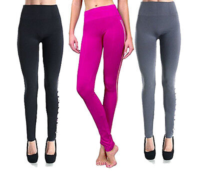 Sofra Solid Stretch Full Length Sports Leggings Women One Size Fits All Spandex