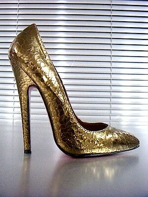 Mori Made In Italy High Sky Sexy Heels Pumps Schuhe Shoes Leather Gold Oro 37