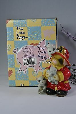 "Enesco This Little Piggy ""You're a Purrfect Hero"" 1995 Fireman Figurine 167673"