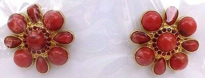 NEW Lindsay Phillips Karen red beads red stones & gold snaps set of 2 snaps sale