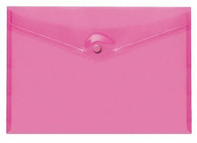 Stud Document Wallet Folder Plastic A4 (Pink) With Multiple Packs
