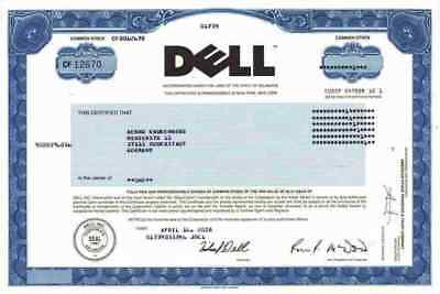 DELL Computer 2008 April Round Rock Texas Langen Orginalaktie Michael Dell TOP