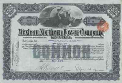 Mexican Northern Power Company 1911 SUPER DEKO Historische Wertpapiere 1 Share