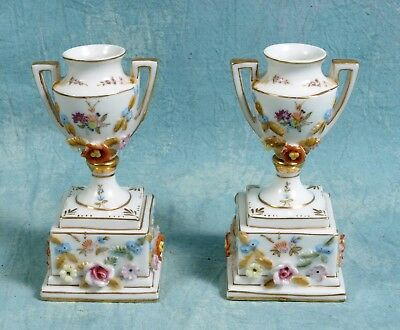 Antique Pair French German Dresden Mini Urns Vases Piedestal Applied Roses