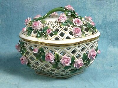 Antique Royal Vienna Reticulated Elegant Candy Basket Applied Roses