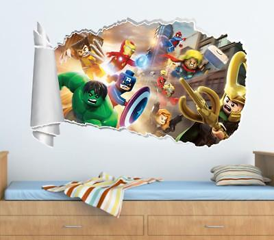 Lego Marvel Super Heroes 3D Torn Hole Ripped Wall Sticker Decal Decor Art WT314