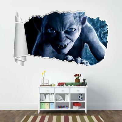 Lord Of The Rings Gollum Hobbit 3D Torn Hole Ripped Wall Sticker Decal Art WT224