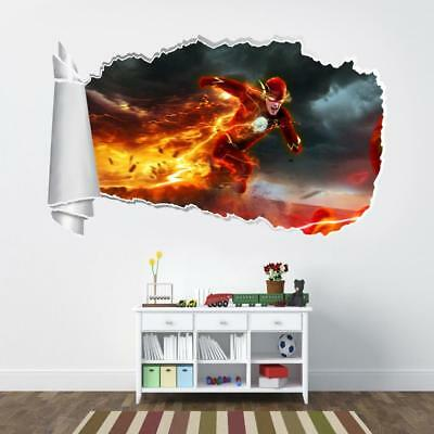 The Flash 3D Torn Hole Ripped Wall Sticker Decal Decor Art Mural Marvel WT208