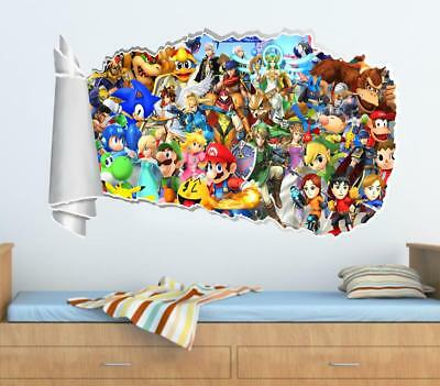 Super Smash Bros Mario 3D Torn Hole Ripped Wall Sticker Decal Art Mural WT199