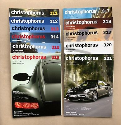 CHRISTOPHORUS Porsche Magazine Issues 311 - 321 2005-2006 Unread EXCELLENT!