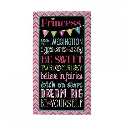 Princess Rules Wooden Wall Feature Plaque - Large Modern plaque - Wall sign