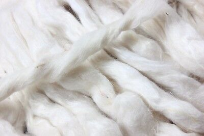 4oz Bag Ready for Spinning Sari Silk Fiber - Carded - Sliver Form - White Color