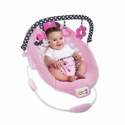 Disney Minnie Mouse Blushing Bows Vibrating Baby Bouncer With Melodies Toys Pink