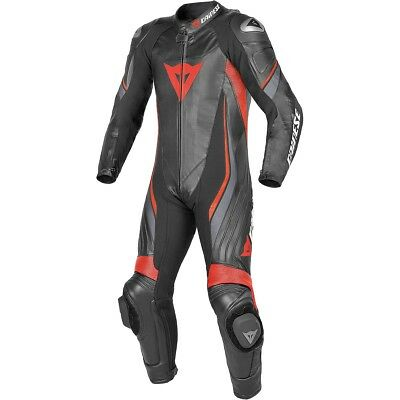 Dainese Trickster Evo C2 Perforated Leather 1-Pc Race Suit Black/Fluo Red