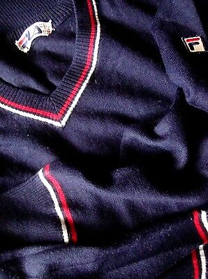 SWEATER vintage '80s FILA era Borg TG.54  veste L   made in Italy RARE