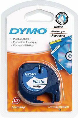 Dymo LetraTag Plastic Label Tape 12mm x 4m Roll White Labelling Durable Wipeable