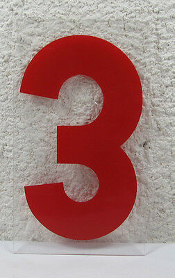 "Marquee Sign THREE Numeral Vinyl 9"" X 5-1/8"" X 1/16"" Signage"