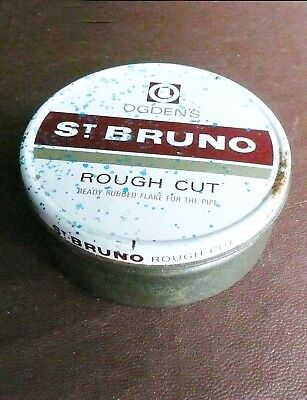 Tin Box Ogdens St. Bruno Rough Cut Pipe Tobacco  Collectors Item