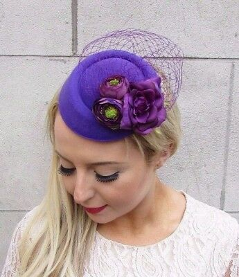 Purple Rose Berry Flower Pillbox Hat Fascinator Hair Clip Races Cocktail 4201