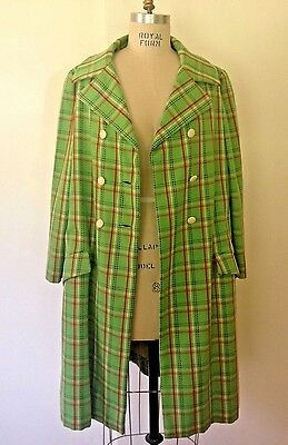 Vtg 60s Mod Coat Lime Green & Red Wool Plaid Swingy Dbl-Breasted Wide Collar L