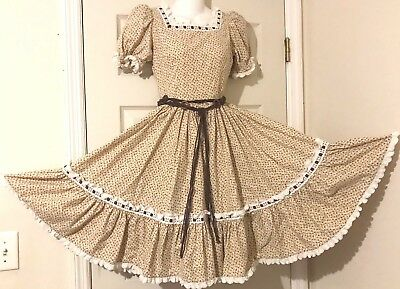 Square Dance Dress  Tan And Brown With Braided String & Circle Belt M