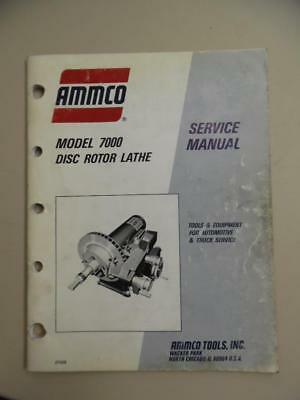 1990 AMMCO 7000 Disc Rotor Brake Lathe Service Manual Vintage Original