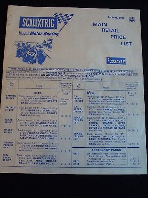 Vintage Scalextric Main Retail Price List May 1969