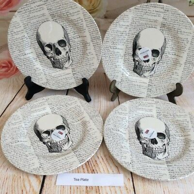 Royal Stafford - Skull with Script  - Tea plates  - Set of 4