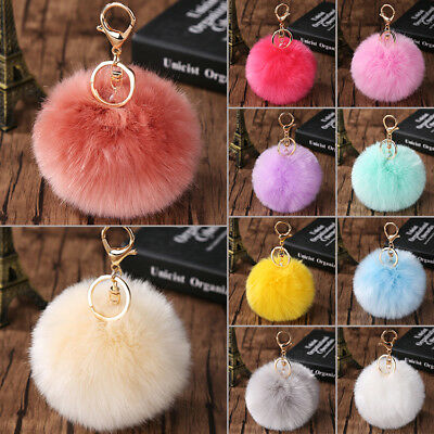 Rabbit Fur Fluffy Pompom Ball Handbag Car Pendant Charm Key Chain Keyrings 10CM