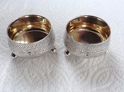 Vintage Pair of Silver Plated & Gilt Salts By William Hutton & Sons Sheffield