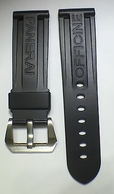 24mm Lug Width BLACK PU Rubber Watch Strap w/STAINLESS BUCKLE Panerai Design NEW