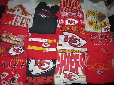 LOT OF 19 KANSAS CITY CHIEFS SWEATSHIRTS NFL RED ADULT SIZES SOME VINTAGE 90s