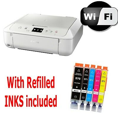 05 White CANON Pixma MG6851 All in One WIRELESS PRINTER SCANNER COPIER with Inks