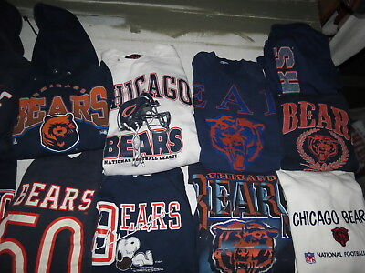 LOT OF 15 CHICAGO BEARS SWEATSHIRTS NFL ADULT SIZES SOME VINTAGE 90s HOODIES